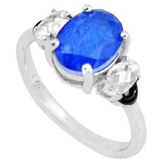 5.22cts blue sapphire (lab) topaz enamel 925 sterling silver ring size 9 c2667