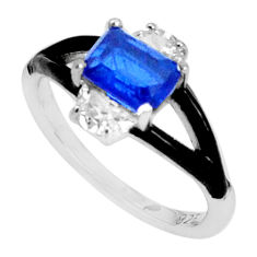 3.13cts blue sapphire (lab) topaz enamel 925 sterling silver ring size 6 c2671