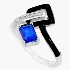 3.50cts blue sapphire (lab) topaz enamel 925 sterling silver ring size 8 c2691