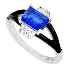 3.05cts blue sapphire (lab) topaz enamel 925 sterling silver ring size 7 c2693