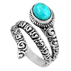 2.35cts blue sleeping beauty turquoise 925 silver solitaire ring size 7.5 p92072