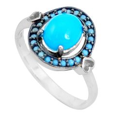 3.05cts blue sleeping beauty turquoise 925 sterling silver ring size 7 c1470