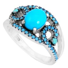 3.40cts blue sleeping beauty turquoise 925 sterling silver ring size 8.5 c1473