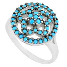 2.02cts blue sleeping beauty turquoise 925 sterling silver ring size 5.5 c1482