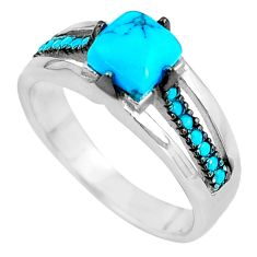 1.84cts blue sleeping beauty turquoise 925 sterling silver ring size 6 c1487
