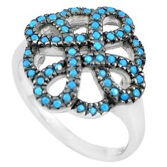 1.42cts blue sleeping beauty turquoise 925 sterling silver ring size 6 c1521