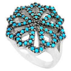 1.94cts blue sleeping beauty turquoise 925 sterling silver ring size 5.5 c1545