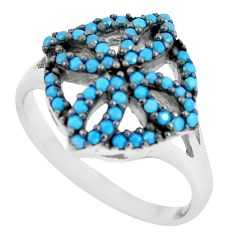 1.40cts blue sleeping beauty turquoise 925 sterling silver ring size 8.5 c1546