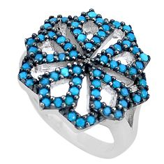 2.68cts blue sleeping beauty turquoise 925 sterling silver ring size 5.5 c2851