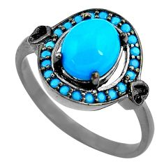 3.05cts blue sleeping beauty turquoise 925 sterling silver ring size 7.5 c2856