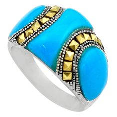 11.66cts blue sleeping beauty turquoise marcasite 925 silver ring size 8.5 c4091
