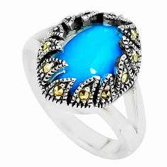 Blue sleeping beauty turquoise marcasite 925 silver solitaire ring size 7 c2928