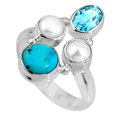5.36cts blue sleeping beauty turquoise topaz 925 silver ring size 7.5 p90676