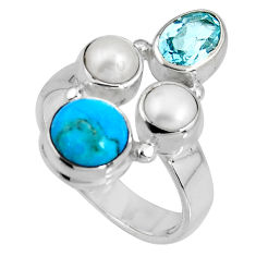 5.36cts blue sleeping beauty turquoise topaz pearl 925 silver ring size 7 p90670