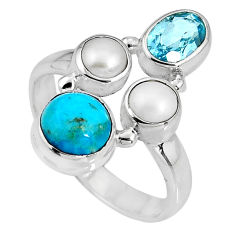 5.52cts blue sleeping beauty turquoise topaz pearl 925 silver ring size 8 p90672