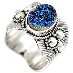 Blue titanium druzy 925 sterling silver solitaire ring jewelry size 6 h68560
