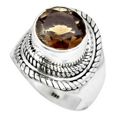 5.72cts brown smoky topaz 925 sterling silver solitaire ring size 8 p70231