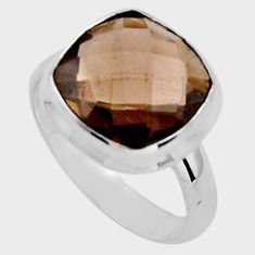 6.85cts brown smoky topaz 925 sterling silver solitaire ring size 8 p89922