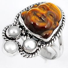 BROWN TIGERS EYE PEARL 925 STERLING SILVER LAUGHING BUDDHA RING SIZE 7 H23631