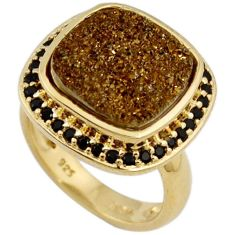 BROWN TITANIUM DRUZY SPINEL CUSHION STERLING SILVER 14K GOLD RING SIZE 5 H2564