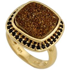 BROWN TITANIUM DRUZY TOPAZ 925 STERLING SILVER 14K GOLD RING SIZE 6.5 H13113