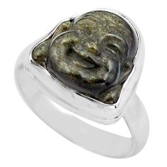 Buddha carving ral sheen black obsidian silver solitaire ring size 7.5 p88173