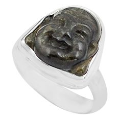 Buddha carving sheen black obsidian silver solitaire ring size 6.5 p88164