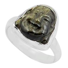 Buddha carving sheen black obsidian silver solitaire ring size 8.5 p88167