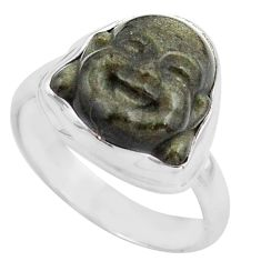 Buddha carving sheen black obsidian silver solitaire ring size 8.5 p88168
