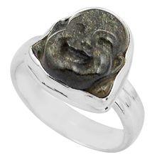 Buddha carving sheen black obsidian silver solitaire ring size 7.5 p88169
