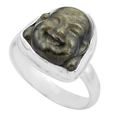 Buddha carving sheen black obsidian silver solitaire ring size 8.5 p88171