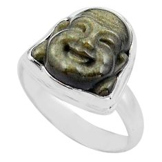 7.61cts buddha carving sheen black obsidian silver solitaire ring size 8 p88174