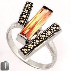 4.04cts CHAMPAGNE TOPAZ QUARTZ MARCASITE 925 STERLING SILVER RING SIZE 9 F13833