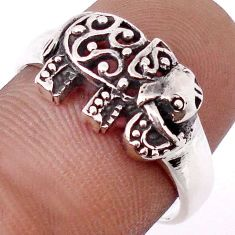 3.41gms CHARMING 925 STERLING SILVER ELEPHANT CHARM RING JEWELRY SIZE 8.5 H9512
