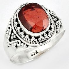 CLASSIC NATURAL RED RHODOLITE 925 STERLING SILVER SOLITAIRE RING SIZE 9.5 H43569