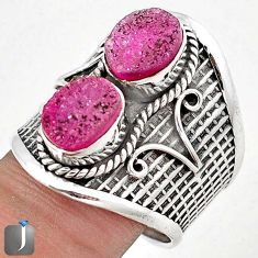 7.46cts CLASSIC PINK DRUZY OVAL 925 STERLING SILVER RING JEWELRY SIZE 9 G63022