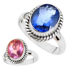 Color change faceted natural fluorite 925 silver solitaire ring size 8 p41684