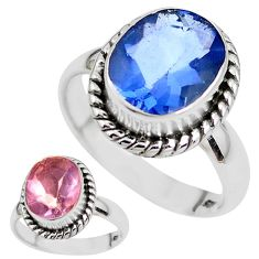 Color change faceted natural fluorite 925 silver solitaire ring size 7.5 p41685