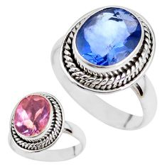 Color change faceted natural fluorite 925 silver solitaire ring size 7 p41686