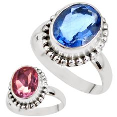 Color change faceted natural fluorite 925 silver solitaire ring size 8 p41687