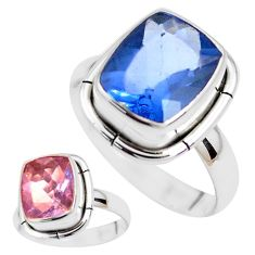 Color change faceted natural fluorite 925 silver solitaire ring size 8 p41688