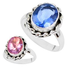 Color change faceted natural fluorite 925 silver solitaire ring size 7.5 p41689