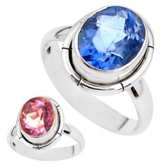 Color change faceted natural fluorite 925 silver solitaire ring size 8.5 p41691