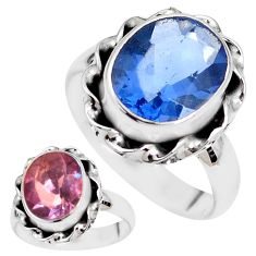 Color change faceted natural fluorite 925 silver solitaire ring size 7.5 p41693