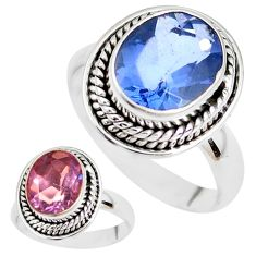 Color change faceted natural fluorite 925 silver solitaire ring size 8 p41695