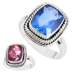 Color change faceted natural fluorite 925 silver solitaire ring size 8 p41696