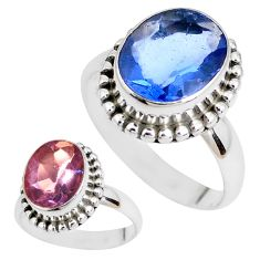 Color change faceted natural fluorite 925 silver solitaire ring size 7 p41697