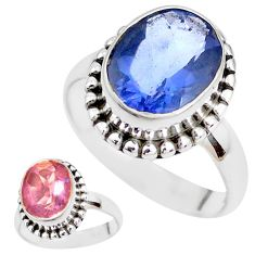 Color change faceted natural fluorite 925 silver solitaire ring size 7 p41698