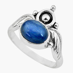 3.24cts crown natural blue kyanite 925 silver solitaire ring size 8 p57809