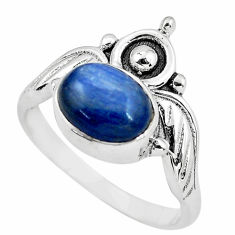 3.13cts crown natural blue kyanite 925 silver solitaire ring size 7.5 p57811